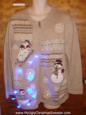 Cute Snowmen Sledding Christmas Sweater with Lights
