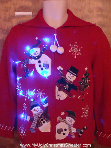Cute Peaking Snowmen 2sided Christmas Sweater with Lights