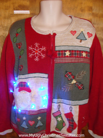 Plaid Themed Red and White Cute Christmas Sweater with Lights