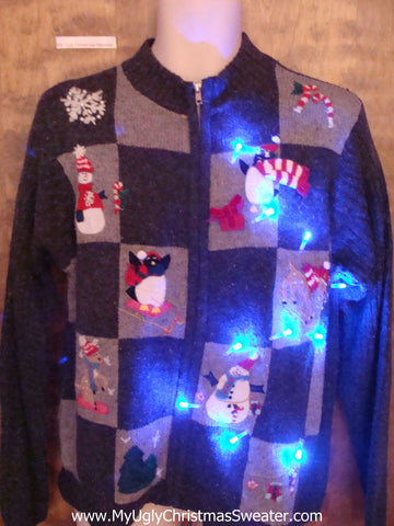 Winter Friend Party Cute Christmas Sweater with Lights