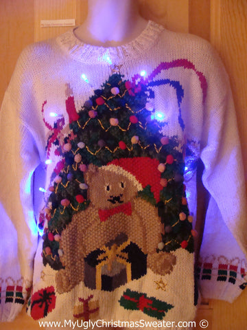 Tacky Xmas Sweater with Lights Huge Bear and Tree (g189)