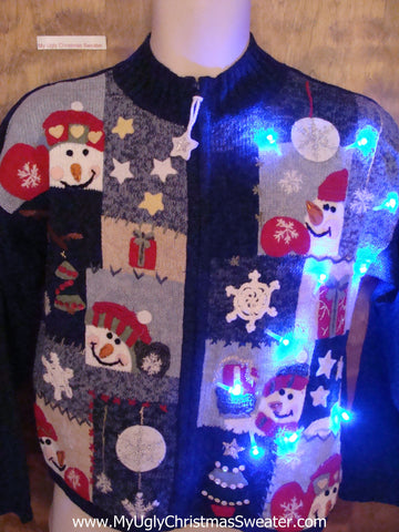Happy Snowmen Blue Light Up Ugly Christmas Jumper