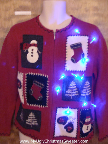 Red 2sided Light Up Ugly Christmas Jumper with Snowmen