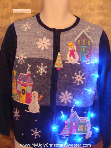 Pastel Colors Light Up Ugly Christmas Jumper with Tree Zip Pull