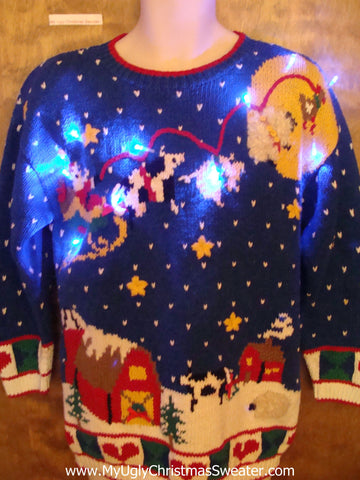 BEST 80s Farm Animals 2sided Light Up Ugly Christmas Jumper
