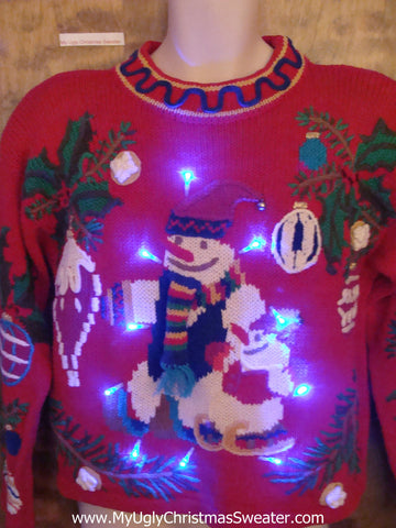 Awesome 80s 2sided Light Up Ugly Christmas Jumper with Snowmen