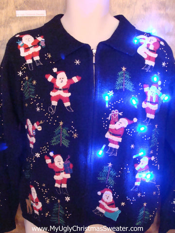 Santa and Flying Reindeer Light Up Ugly Christmas Jumper