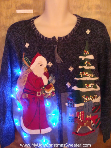 Fancy Santa and Horse Toy Light Up Ugly Christmas Jumper