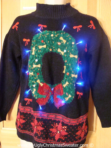 Tacky Xmas Sweater with Lights Wreath and Poinsettias (g190)