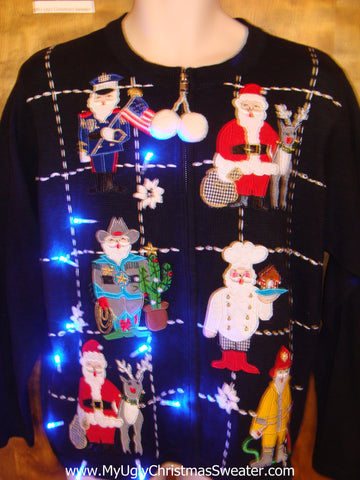 Santa in Disguise Light Up Ugly Christmas Jumper