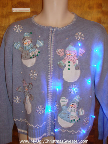 Baby Blue Light Up Ugly Christmas Jumper with Snowmen