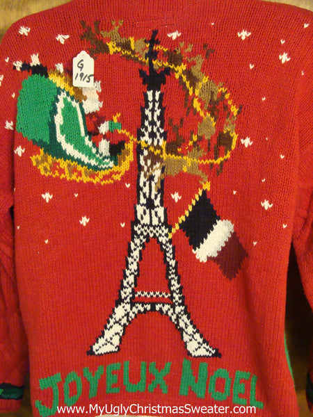 Christmas Paris France.Best 80s Paris France French Light Up Ugly Christmas Jumper