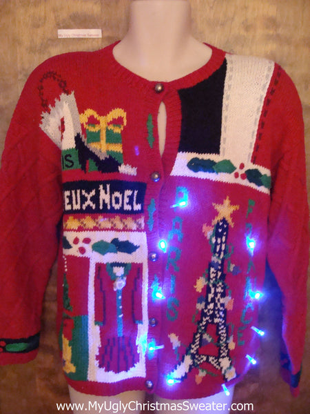 Best 80s Paris France French Light Up Ugly Christmas Jumper