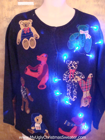 Colorful Teddy Bears Light Up Ugly Christmas Jumper