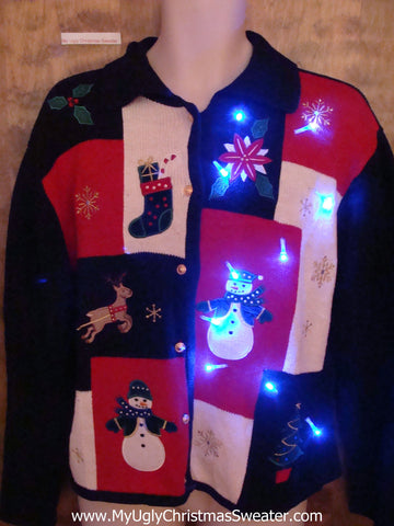 Black and Red Blocks Festive Light Up Ugly Christmas Jumper