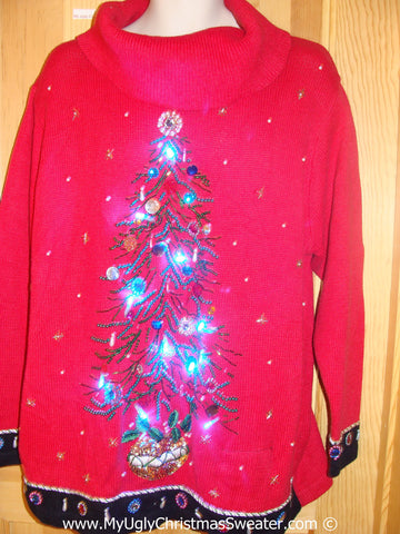 Tacky Red Xmas Sweater with Lights Bling Tree (g191)