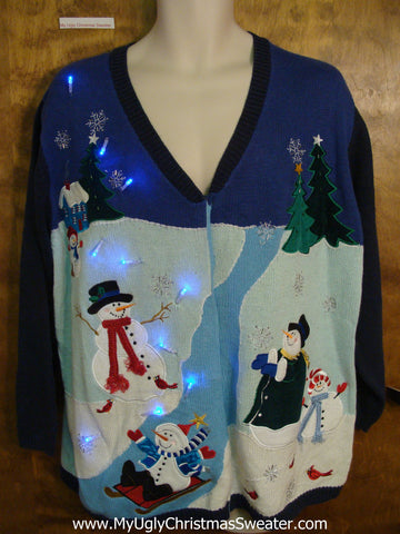 Light Up Ugly Christmas Jumper with Sledding Snowmen