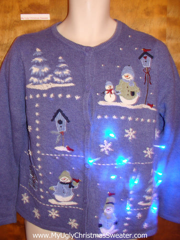 Light Up Blue Ugly Christmas Jumper with Snowmen