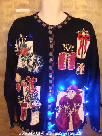 Fancy Santa 80s Light Up Ugly Christmas Jumper
