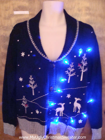 Reindeer in the Woods Light Up Ugly Christmas Jumper