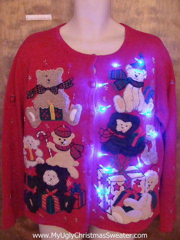 Teddy Bear Xmas Pregame Party Light Up Ugly Christmas Jumper