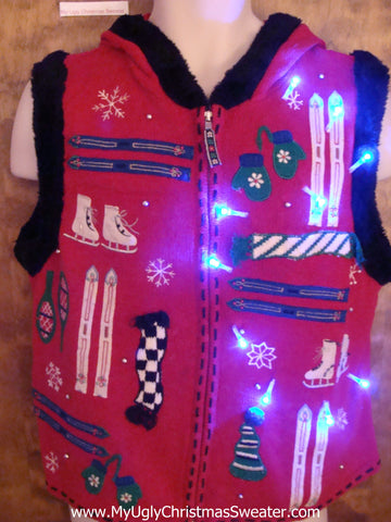 Ski Themed Red Light Up Ugly Christmas Vest