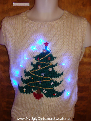 Light Up 80s Ugly Christmas Jumper with Green Tree