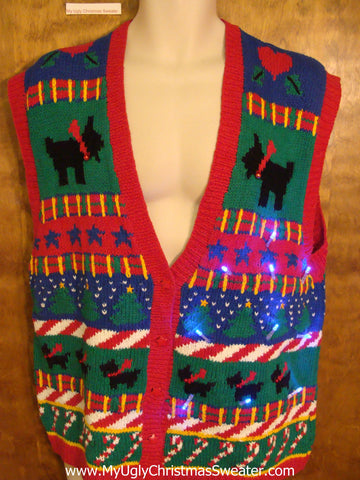 Black Terrier Dog Themed Light Up Ugly Christmas Jumper