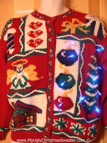 Tacky 80s Xmas Sweater with Lights and Angel (g193)
