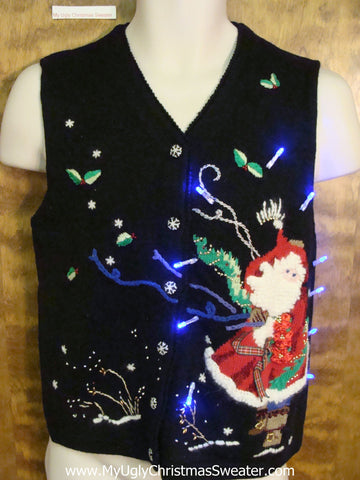 Windy Night with Santa Light Up Ugly Christmas Jumper