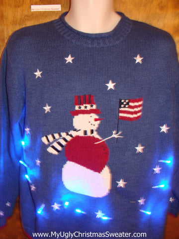 Patriotic Snowman with Flag Light Up Ugly Christmas Jumper