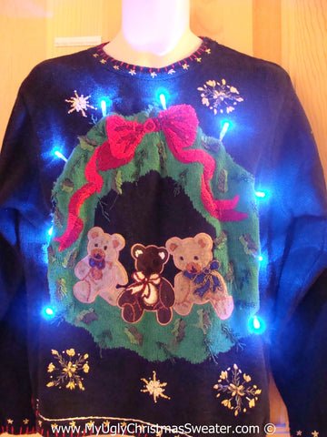 Tacky Xmas Sweater with Lights Wreath and Teddy Bears (g194)