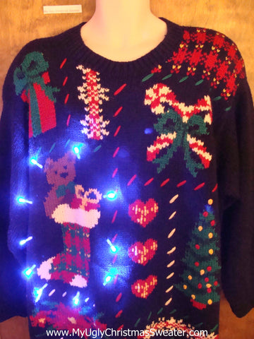 Big Size 80s Tacky Light Up Ugly Christmas Jumper
