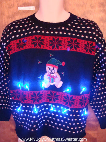 Lonely Festive Bear Light Up Ugly Christmas Jumper