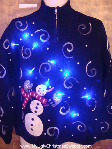 Snowman in the Wind Light Up Ugly Christmas Jumper