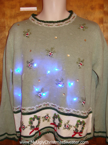 Tacky Wreaths and Ivy Light Up Ugly Christmas Jumper