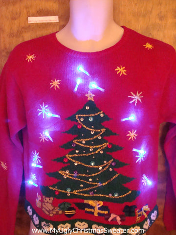 Green Tree with Bead Bling Light Up Ugly Christmas Jumper