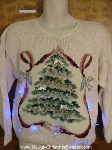 Pink 80s Masterpiece with Tree Light Up Ugly Christmas Jumper