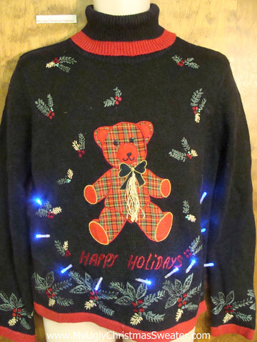 HAPPY HOLIDAYS Plaid Bear Light Up Ugly Christmas Jumper