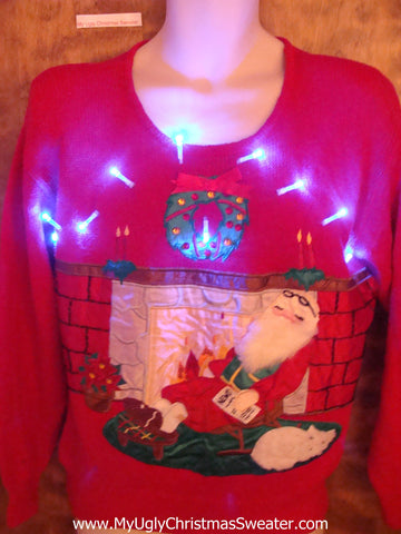 Cozy Fireplace and Santa Light Up Ugly Christmas Jumper