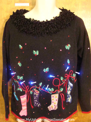 Light Up Ugly Christmas Jumper with Huge Fluffy Collar