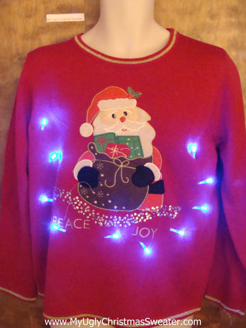 Santa with PEACE and JOY Light Up Ugly Christmas Jumper