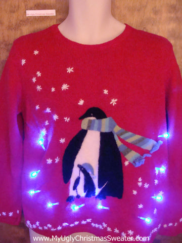 Cute Penguin and Baby Light Up Ugly Christmas Jumper