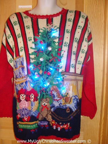 80s Holy Grail of Ugly Xmas Sweater with Lights Ragedy Ann (g196)
