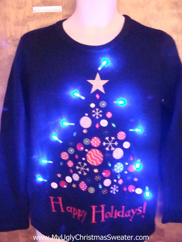 HAPPY HOLIDAYS Tree Light Up Ugly Christmas Jumper