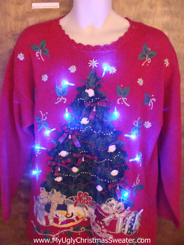 Maximum Tacky Tree Light Up Ugly Christmas Jumper