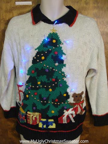 The Leaning Tree with Toys Light Up Ugly Christmas Jumper