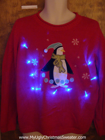 Happy Festive Penguin Light Up Ugly Christmas Jumper