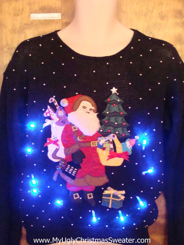 Santa at Night with Gifts Light Up Ugly Christmas Jumper