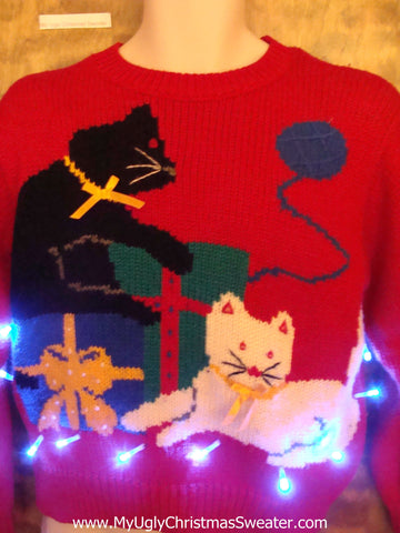 BEST 80s Retro Festive Cats Light Up Ugly Christmas Jumper